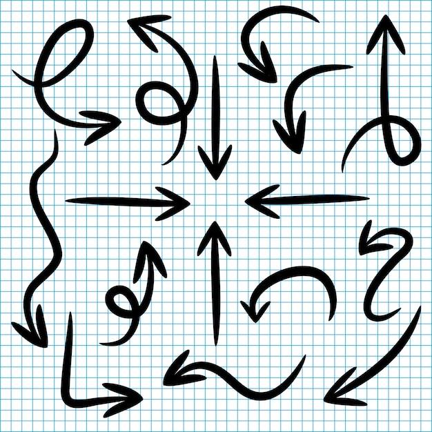 Establecer flechas de doodle en papel Vector Premium
