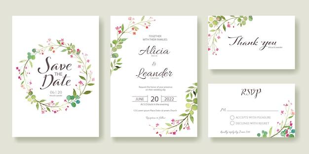 Establecer fo invitación de boda, guardar la fecha, gracias, plantilla de tarjeta de rsvp. Vector Premium