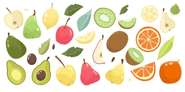 Establecer frutas pera, manzana, aguacate, kiwi, naranja con hojas. vegano, comida dietética. Vector Premium