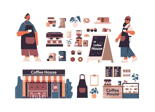 Establecer herramientas y accesorios de cafetería con barista hombre mujer en ilustración vectorial horizontal aislado uniforme Vector Premium