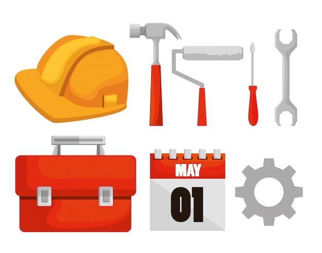 Establecer herramientas de construcción y calendario para el día del trabajo vector gratuito