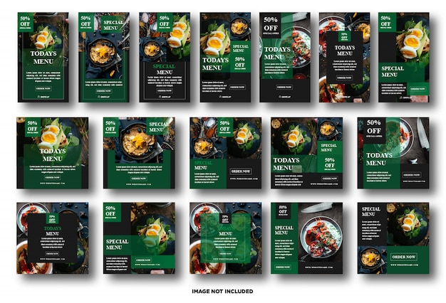 Establecer la historia de instagram, plantilla de publicación en redes sociales para la promoción de alimentos Vector Premium