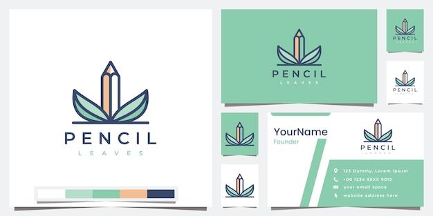 Establecer hojas de lápiz de logotipo con inspiración de diseño de logotipo de versión en color Vector Premium