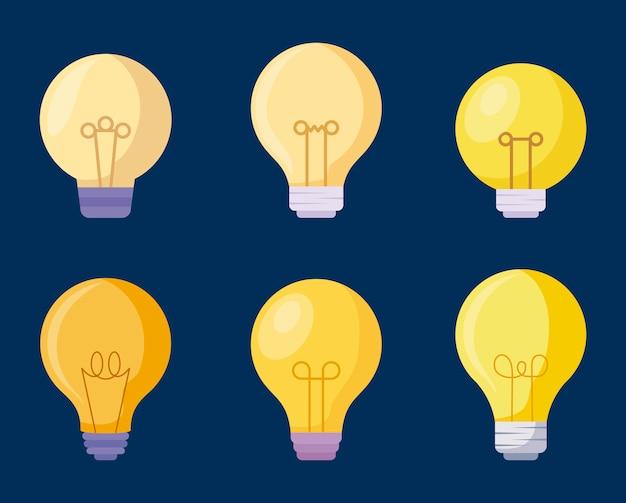 Establecer iconos de bombillas Vector Premium