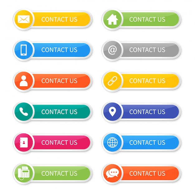 Establecer iconos de contacto con nosotros botón aislado. Vector Premium