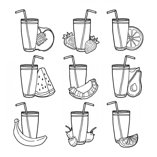 Establecer jugos de frutas y bayas. Vector Premium