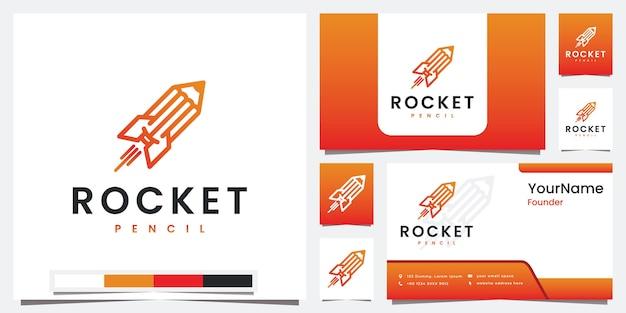 Establecer lápiz de cohete logo con logotipo de concepto de arte lineal Vector Premium