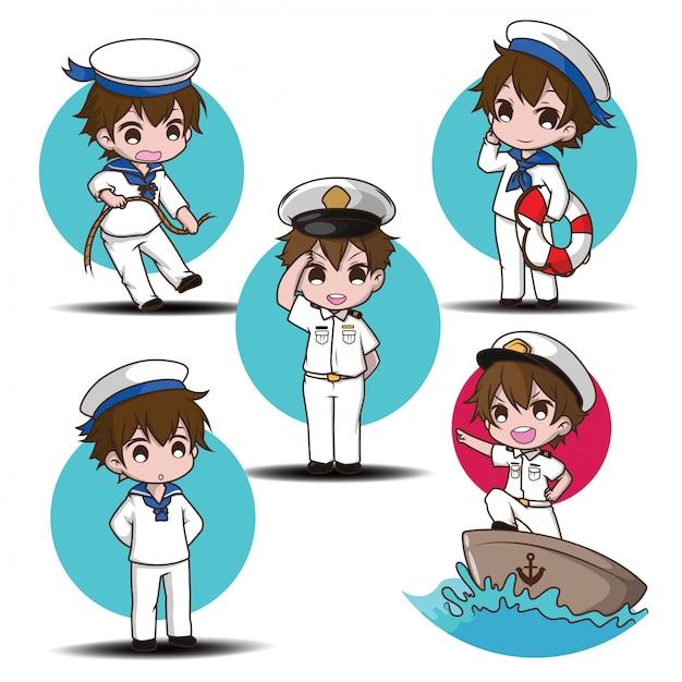 Establecer lindo personaje de niño sonriente con un marineros. Vector Premium