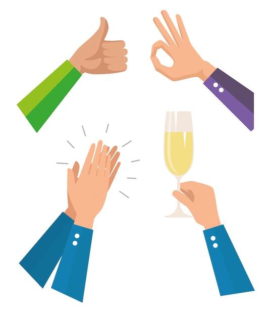 Establecer las manos de los hombres con copa de champán vector gratuito