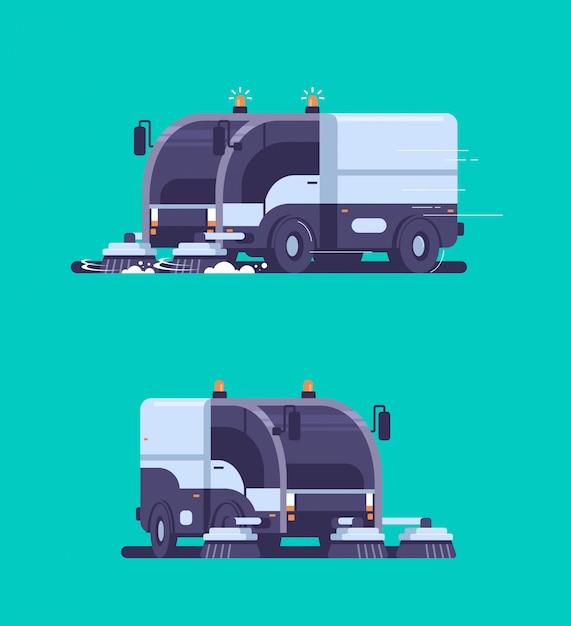 Establecer máquina de limpieza de vehículos industriales de camiones barredora de calles Vector Premium