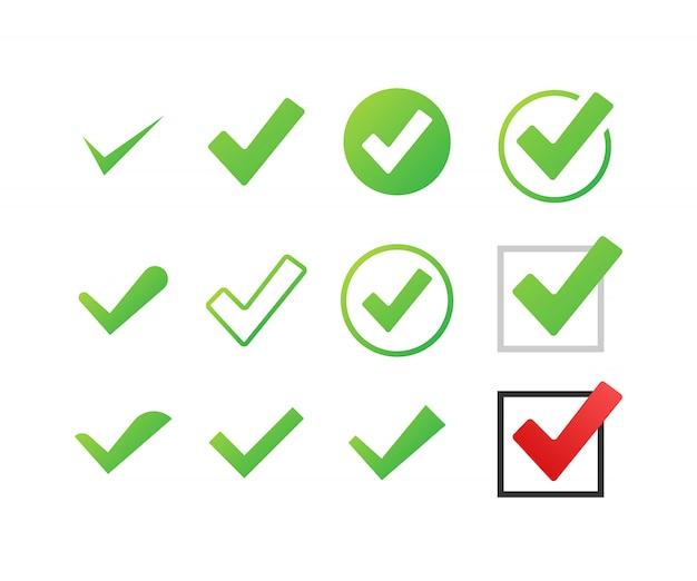 Establecer marcas de verificación o marcas. símbolo de marca, marca de verificación grunge. ilustración. Vector Premium