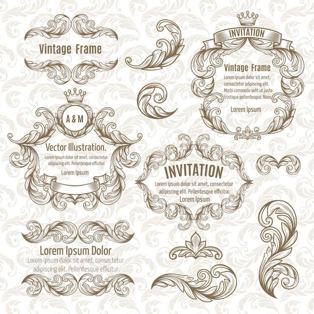 Establecer marco y elementos de diseño vintage Vector Premium