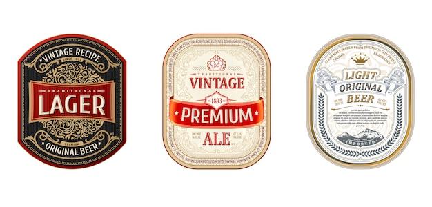 Establecer marcos vintage para etiquetas de cerveza Vector Premium