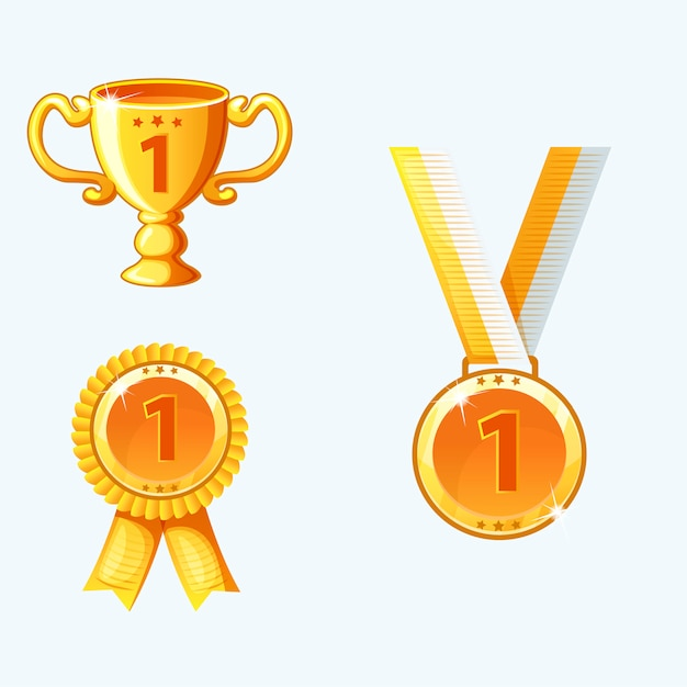 Establecer medallas de oro y premios, trofeo Vector Premium