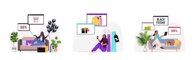 Establecer mezcla de mujeres de raza eligiendo y comprando productos compras en línea viernes negro gran venta descuentos de vacaciones concepto de longitud completa horizontal ilustración vectorial Vector Premium