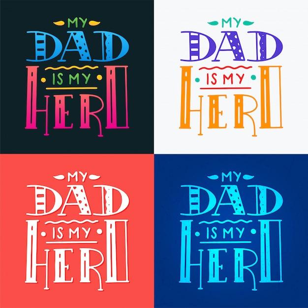 Establecer papá súper héroe doodle cita en estilo manuscrito. Vector Premium