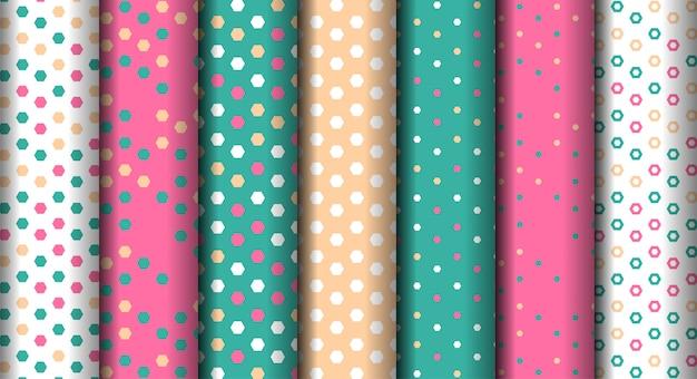 Establecer patrones geométricos coloridos geométricos diferentes brillantes Vector Premium