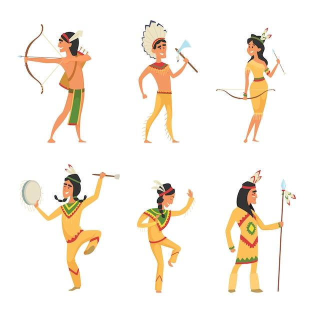 Establecer personajes en estilo de dibujos animados. indio americano tradicional Vector Premium