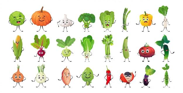 Establecer personajes de vegetales lindos personajes de dibujos animados mascota colección comida sana concepto aislado horizontal Vector Premium