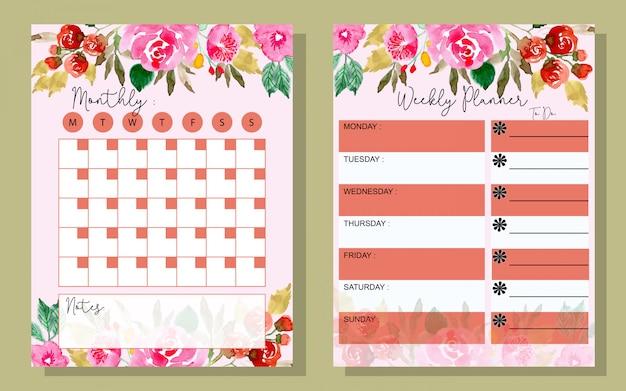 Establecer el planificador mensual y semanal con flores de acuarela. Vector Premium