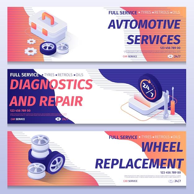 Establecer la plantilla de banner de publicidad de servicio completo de coche Vector Premium