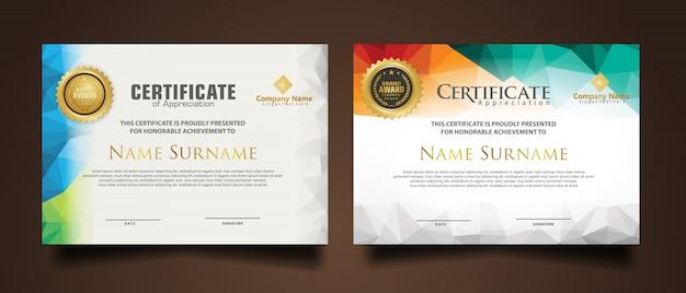 Establecer plantilla de certificado con colores poligonales dinámicos y futuristas y formas modernas Vector Premium