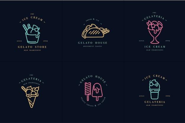 Establecer plantillas de diseño colorido logo y emblemas - helado y gelato.colores neón. Vector Premium