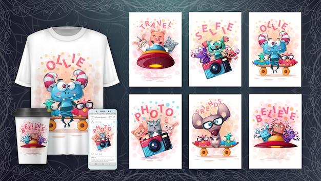 Establecer póster de animales y merchandising Vector Premium