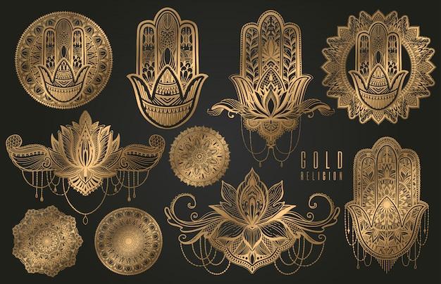 Establecer religión budismo boho signo oro. hamsa, mandala, loto. Vector Premium