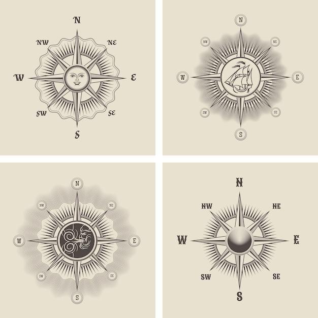 Establecer la rosa de los vientos en estilo retro antiguo. vector gratuito