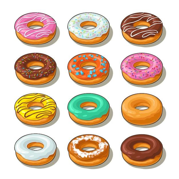 Establecer rosquilla con diferentes glaseados, glaseados, rayas, chispas. Vector Premium