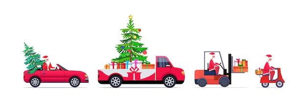 Establecer santa claus conduciendo camioneta roja carretilla elevadora y scooter con abeto y cajas de regalo feliz navidad feliz año nuevo vacaciones de invierno Vector Premium