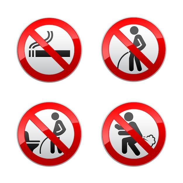 Establecer signos prohibidos - pegatinas de baño Vector Premium