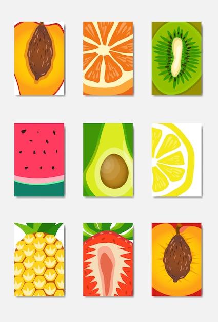 Establecer tarjeta de plantilla de fruta fresca rebanada, diseño vertical de portada de revista sobre fondo blanco, concepto de estilo de vida o dieta saludable broshure, logotipo para cartel de frutas, plano Vector Premium