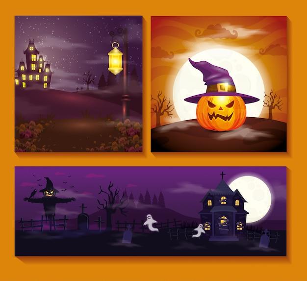 Establecer tarjetas con escenas de halloween vector gratuito