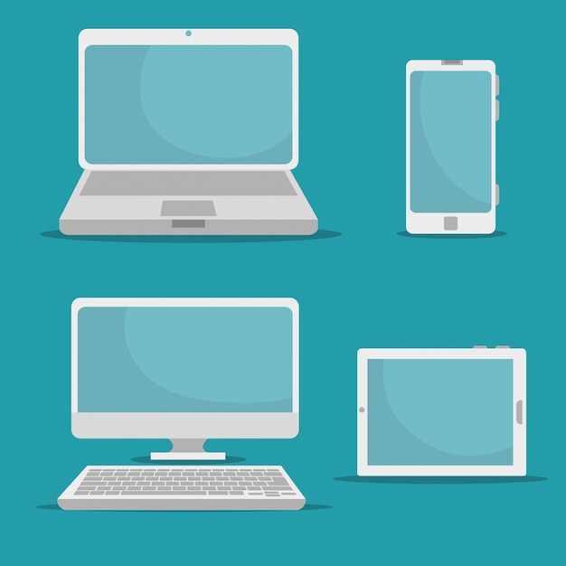 Establecer tecnología digital de redes sociales vector gratuito