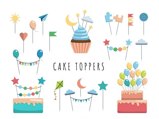 Establecer toppers de pastel y cupcake Vector Premium