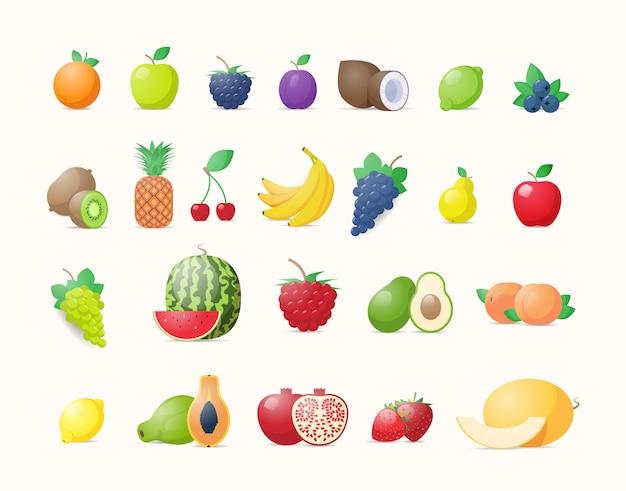 Establecer varias frutas frescas jugosas colección concepto de comida natural saludable horizontal Vector Premium