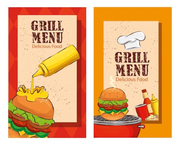 Establecer el volante del menú de parrilla con deliciosas hamburguesas vector gratuito