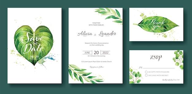 Establezca la invitación de boda de greenery, guarde la fecha, gracias, plantilla de tarjeta de rsvp. Vector Premium