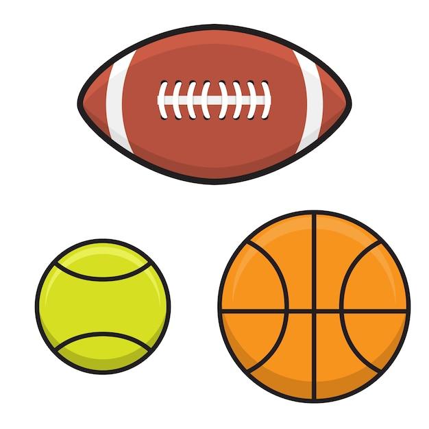 Establezca la pelota de baloncesto, tenis, rugby en estilo plano. Vector Premium