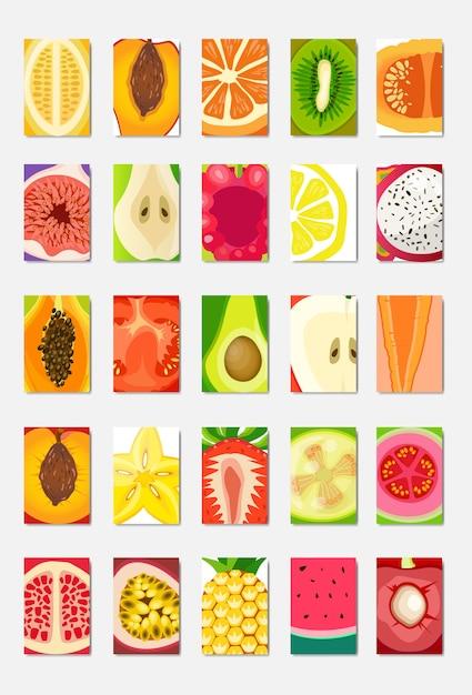 Establezca la tarjeta de plantilla de fruta fresca rebanada, diseño vertical de portada de revista sobre fondo blanco, concepto de estilo de vida o dieta saludable broshure, logotipo para ilustración de vector de cartel de frutas, plano Vector Premium
