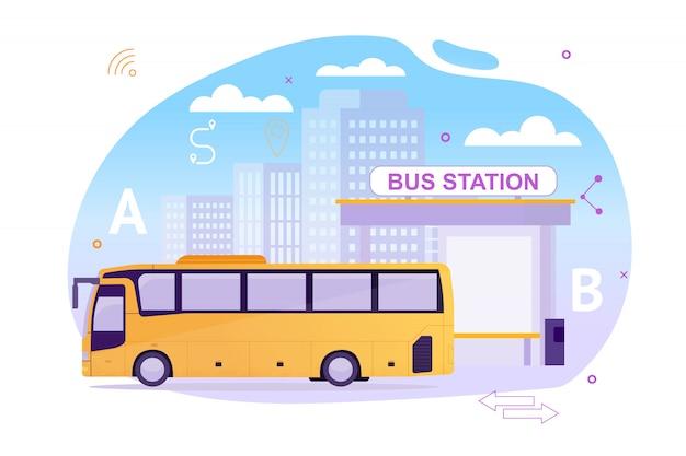 Estación de autobuses con vehículo esperando a los pasajeros. Vector Premium