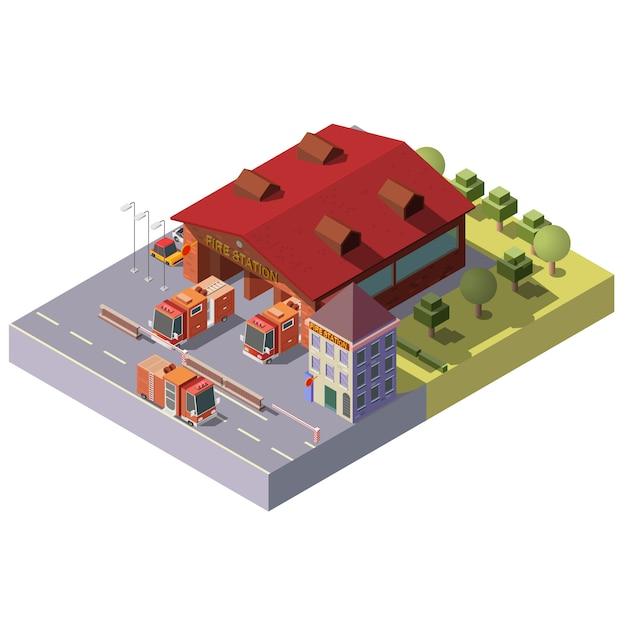Estación de bomberos isométrica vector 3d. servicio municipal vector gratuito