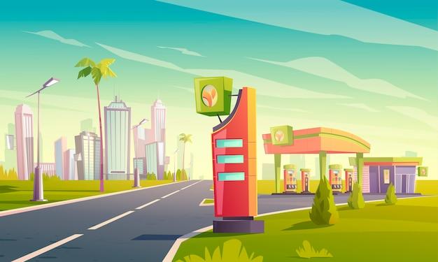 Estación de carga y gas con bomba de aceite, cable con enchufe para coche eléctrico, mercado y visualización de precios en el camino a la ciudad tropical vector gratuito