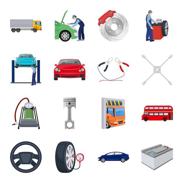 Estación de coche conjunto de iconos de dibujos animados. conjunto de dibujos animados aislados icono auto servicio. estación de autos. Vector Premium