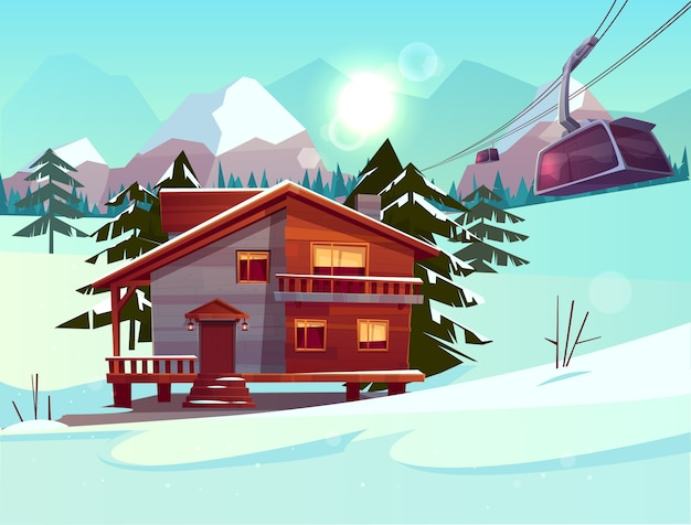 Estación de esquí con casa o chalet, cabina de funicular que se levanta en el teleférico. vector gratuito