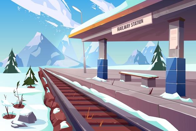 Estación de ferrocarril montañas invierno paisaje nevado ilustración vector gratuito