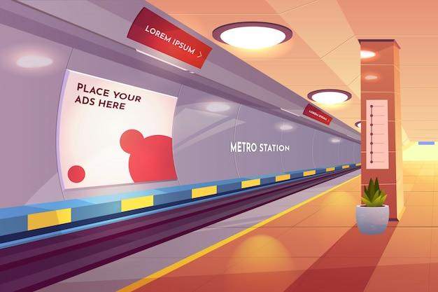 Estación de metro, plataforma de metro vacía vector gratuito