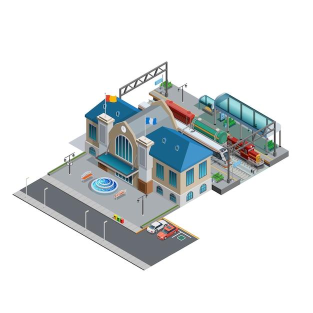 Estación de tren isométrica en miniatura vector gratuito